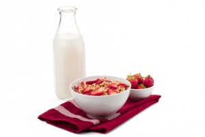 fruity cereal with milk